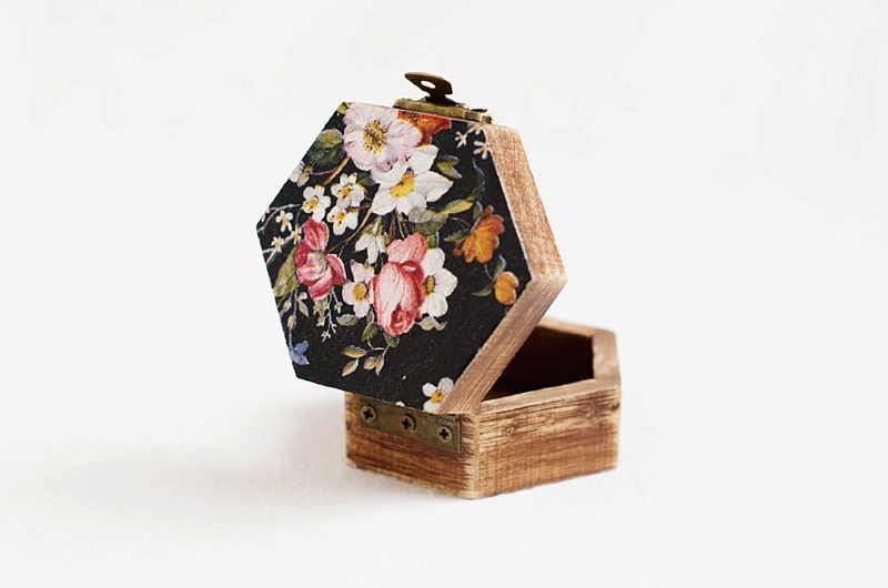 Black floral octagon shaped wedding ring box that can be personalized