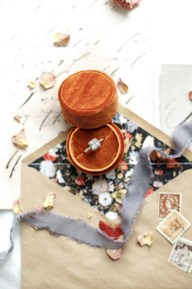 Round burnt orange velvet ring box perfect for wedding proposals