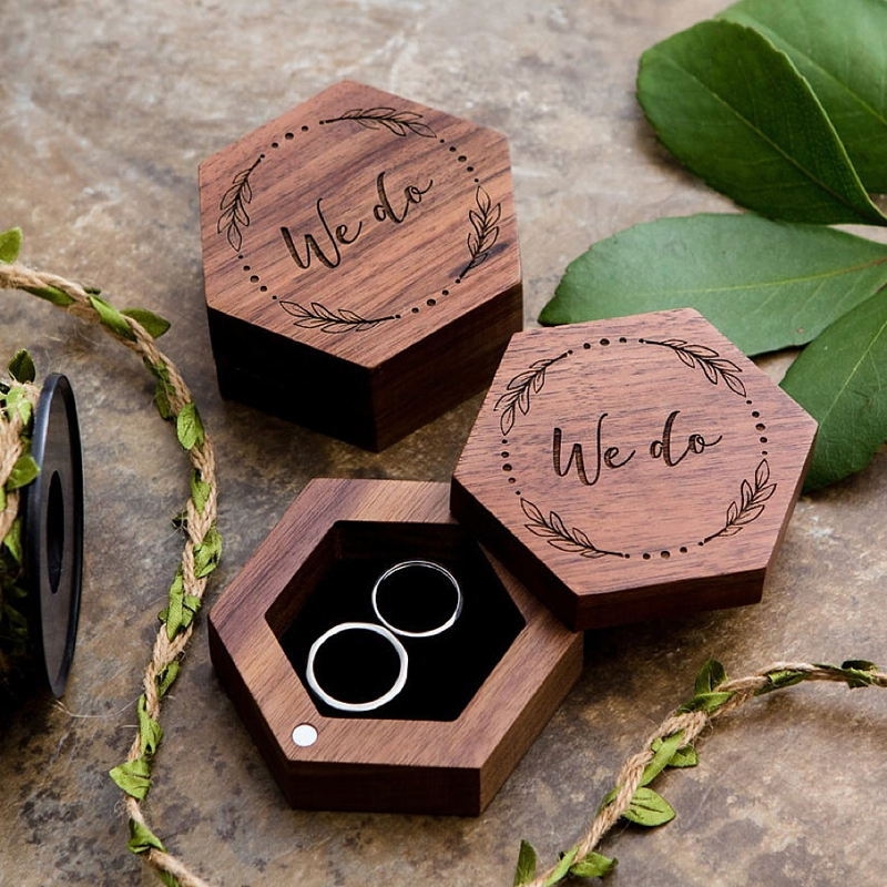 Personalized gender neutral wooden wedding engagement ring box with rotating lid