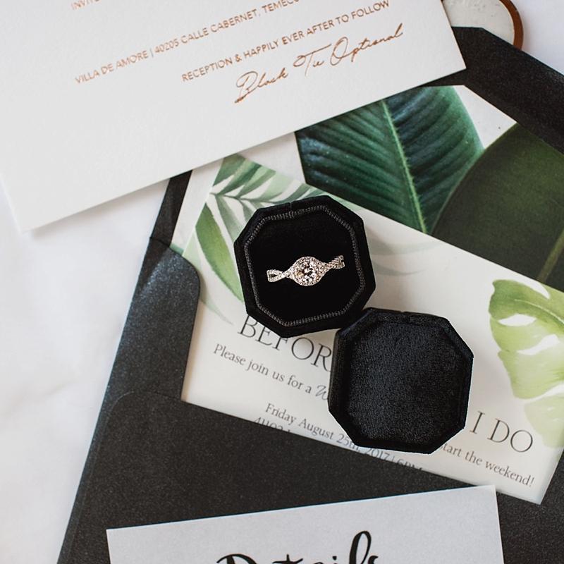 Geometric modern black velvet engagement ring box for one wedding ring