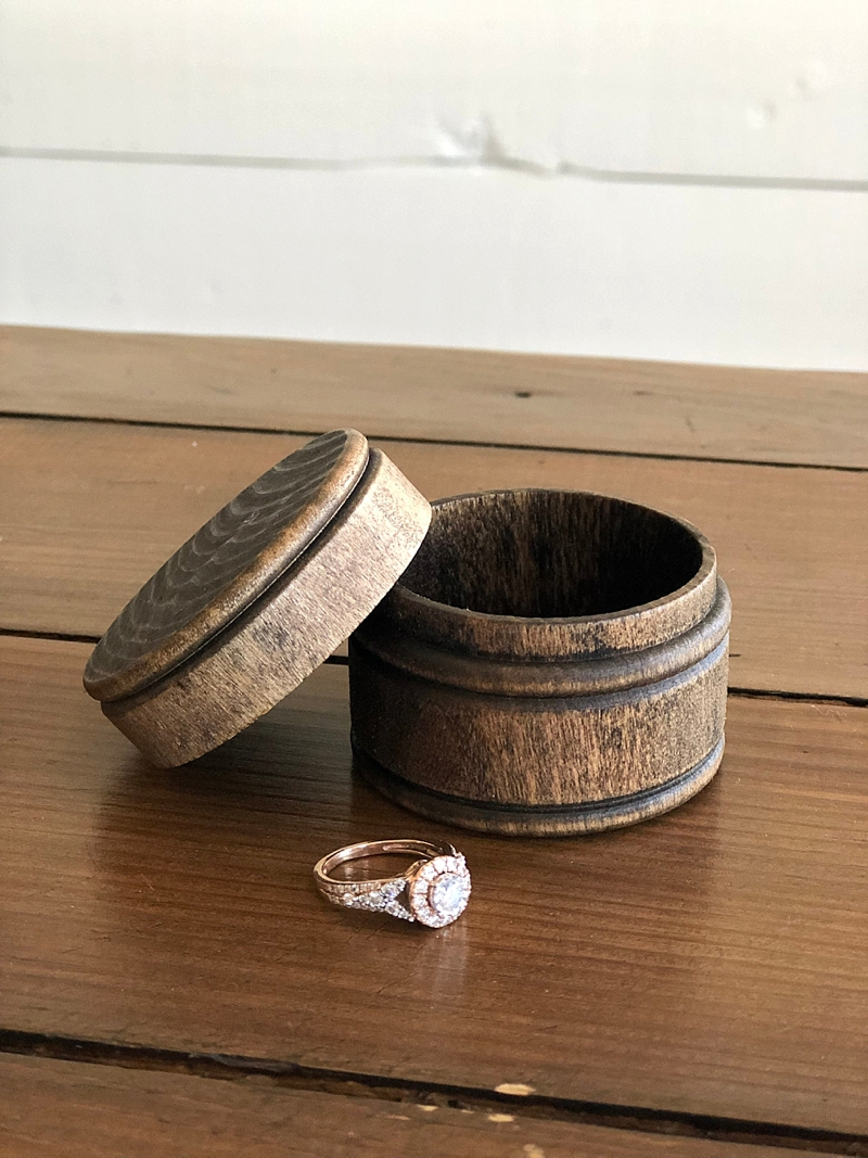 Round wooden barrel inspired engagement ring box perfect for rustic weddings
