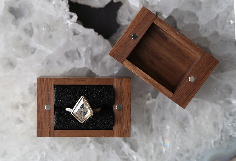 Modern minimalist wooden wedding proposal ring box for masculine style