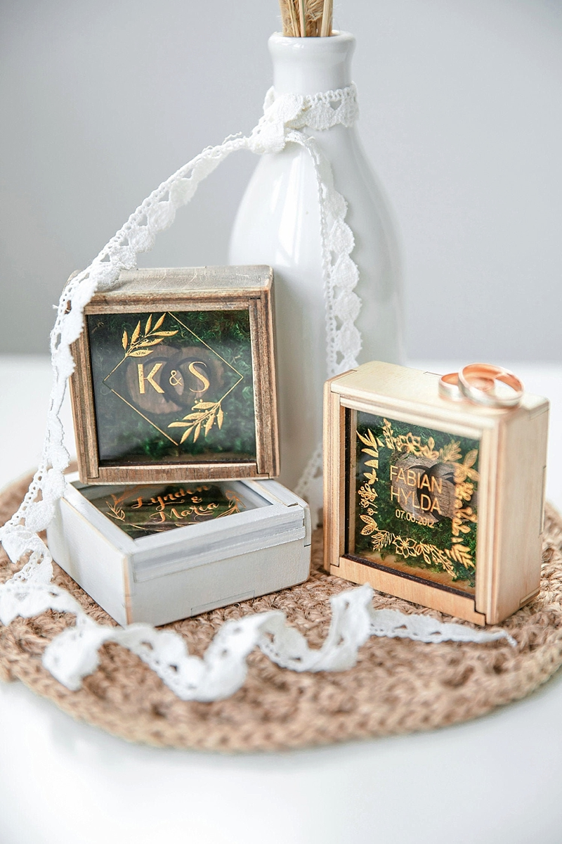 Modern rustic wedding ring box with personalized monograms and different colors