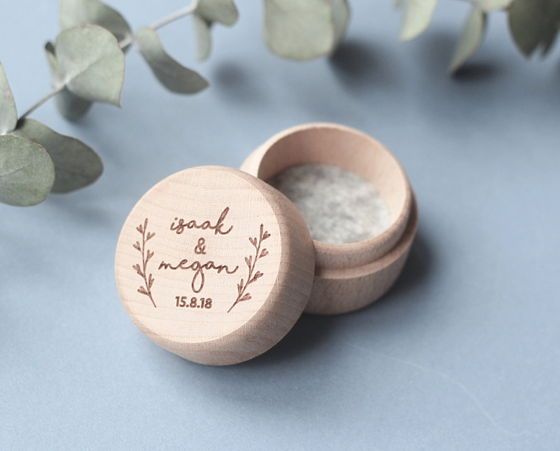 Small round engraved wooden wedding ring box perfect for personalization