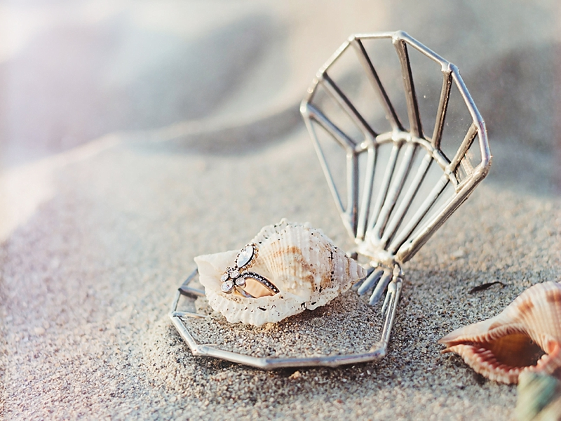 Seashell shaped wedding proposal ring holder box perfect for beach lovers