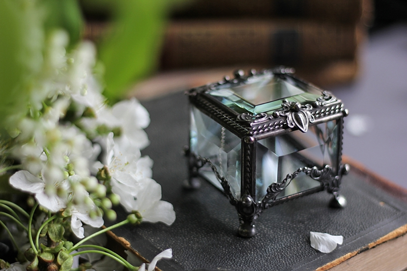 Victorian gothic inspired glass wedding proposal ring box with black silver details perfect for dark vintage engagements