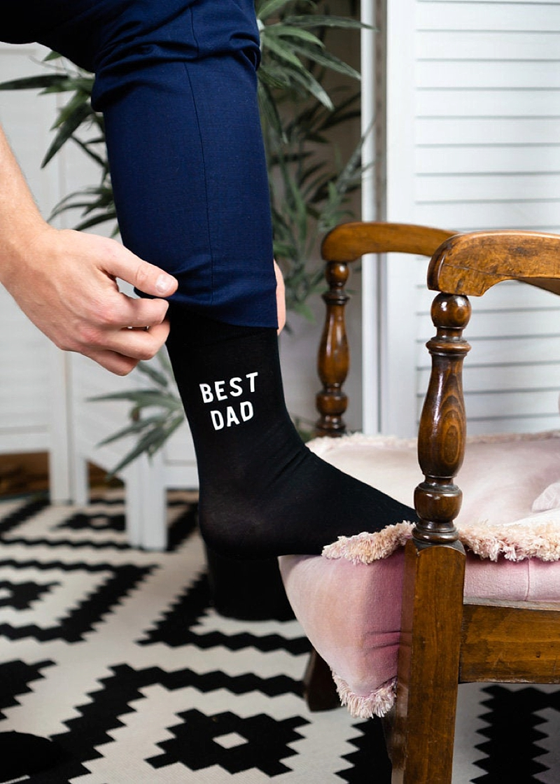 Black Best Dad wedding socks for father of the bride or groom gift idea