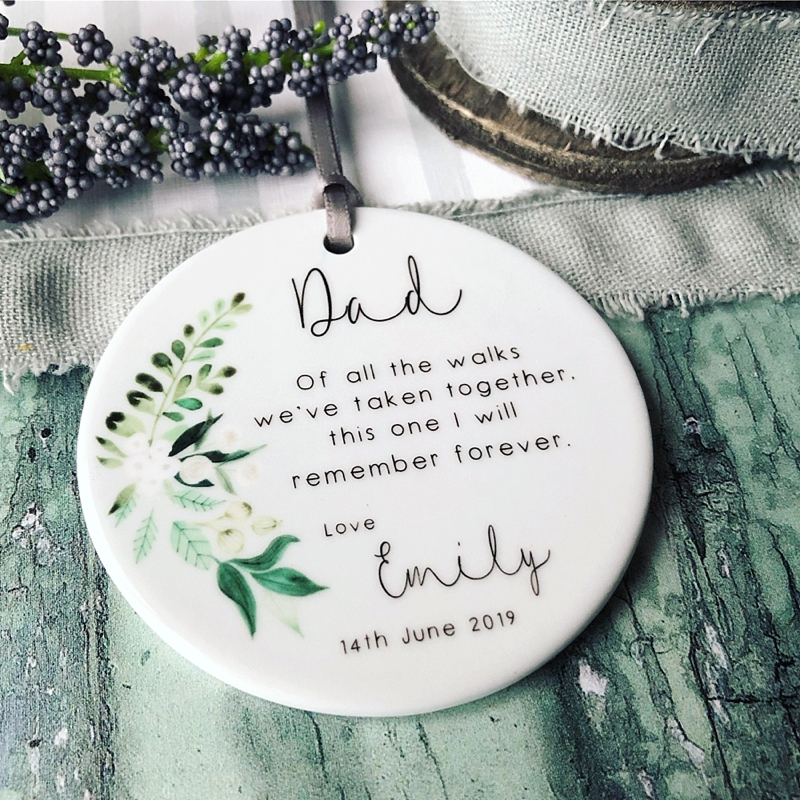Personalized Christmas holiday ceramic ornament for a sweet wedding gift idea for the father of the bride or groom