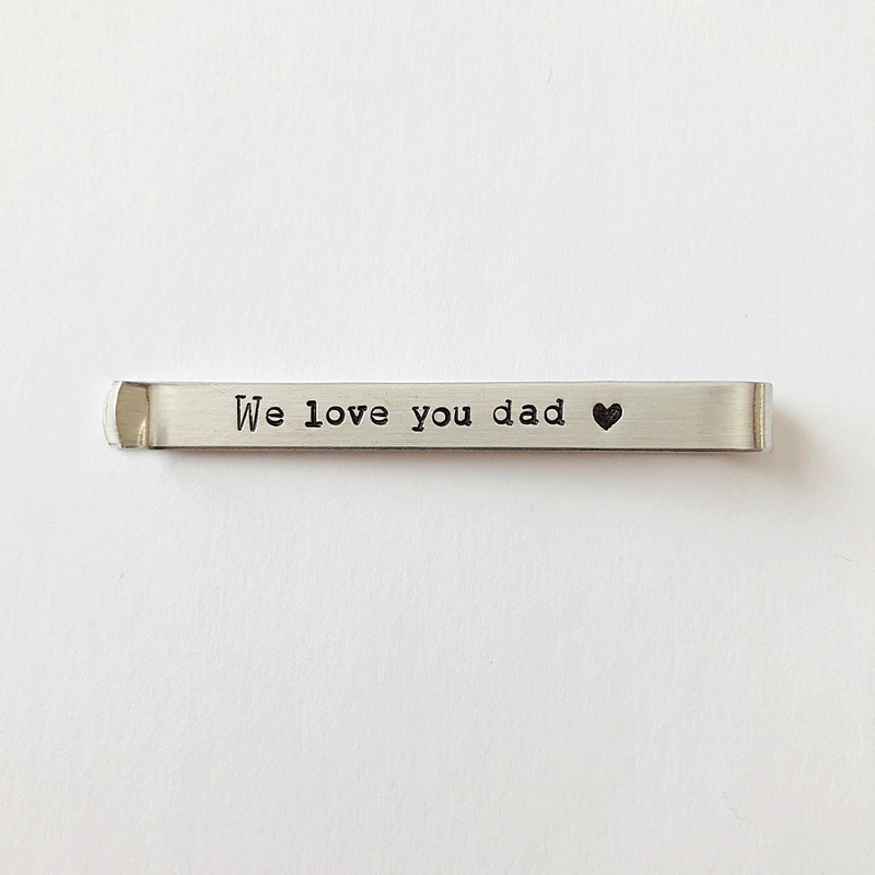 Hidden message aluminum tie bar clip to give to Dad on the wedding day