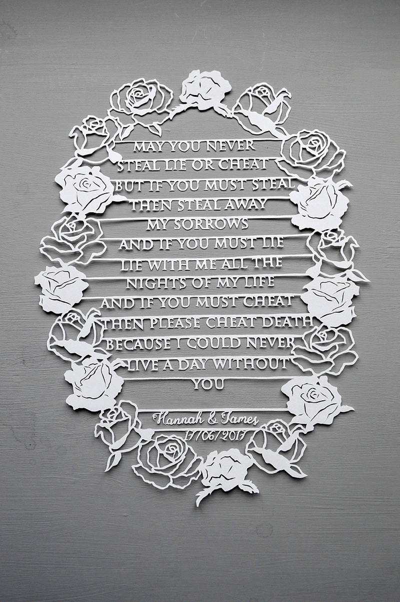 Handmade papercut of wedding vows for unique paper inspired wedding anniversary gift