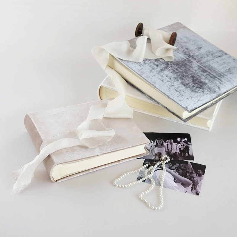 Timeless velvet photo album for chic first wedding anniversary gift