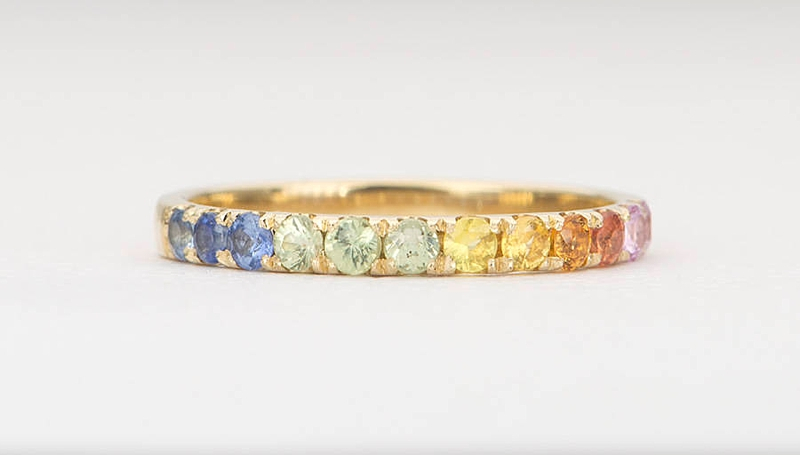 Beautiful rainbow gemstone wedding ring for gay pride
