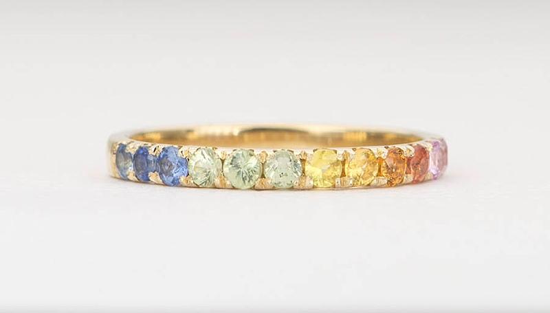 Beautiful rainbow gemstone wedding ring for gay pride