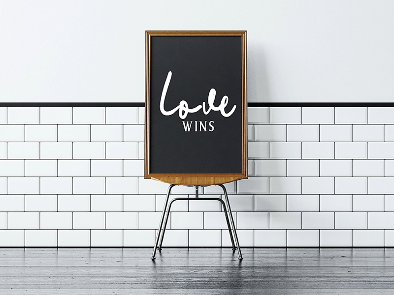 Custom Love Wins wedding sign for gay wedding day