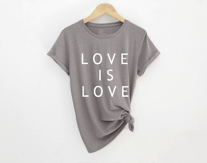 Gray Love is Love shirt perfect for getting ready on the wedding day