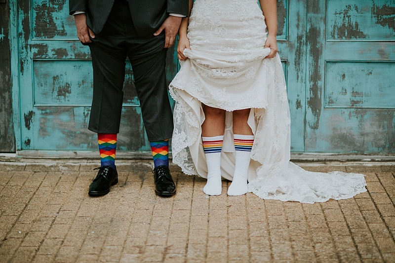 Fun rainbow wedding socks for bride or groom