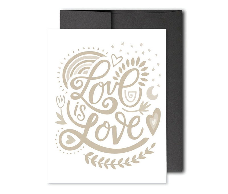 Love is Love letterpress wedding card for all couples
