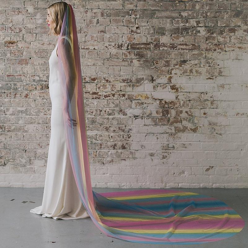 Chic rainbow wedding veil for gay pride wedding