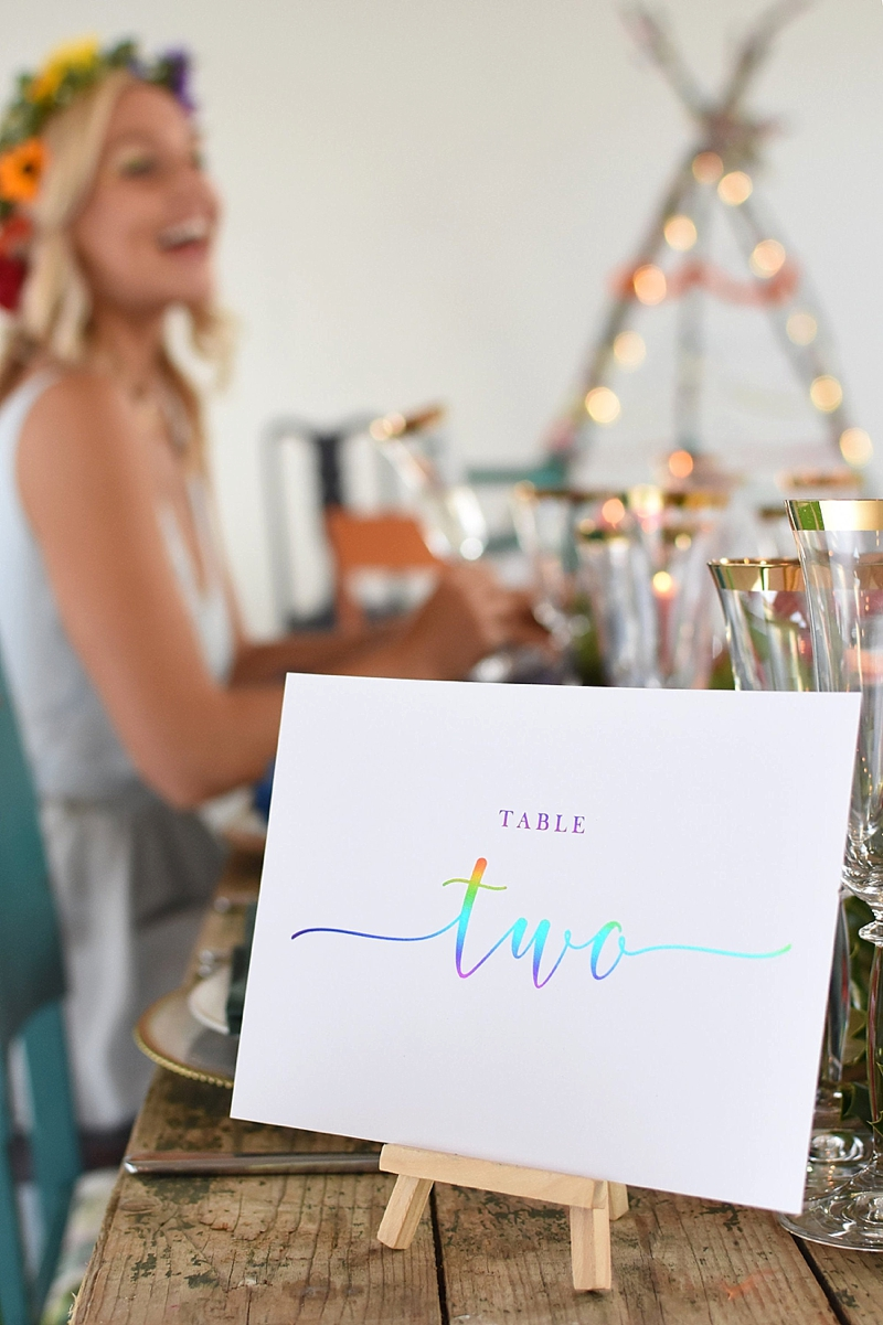 Modern rainbow foil wedding table number for gay pride