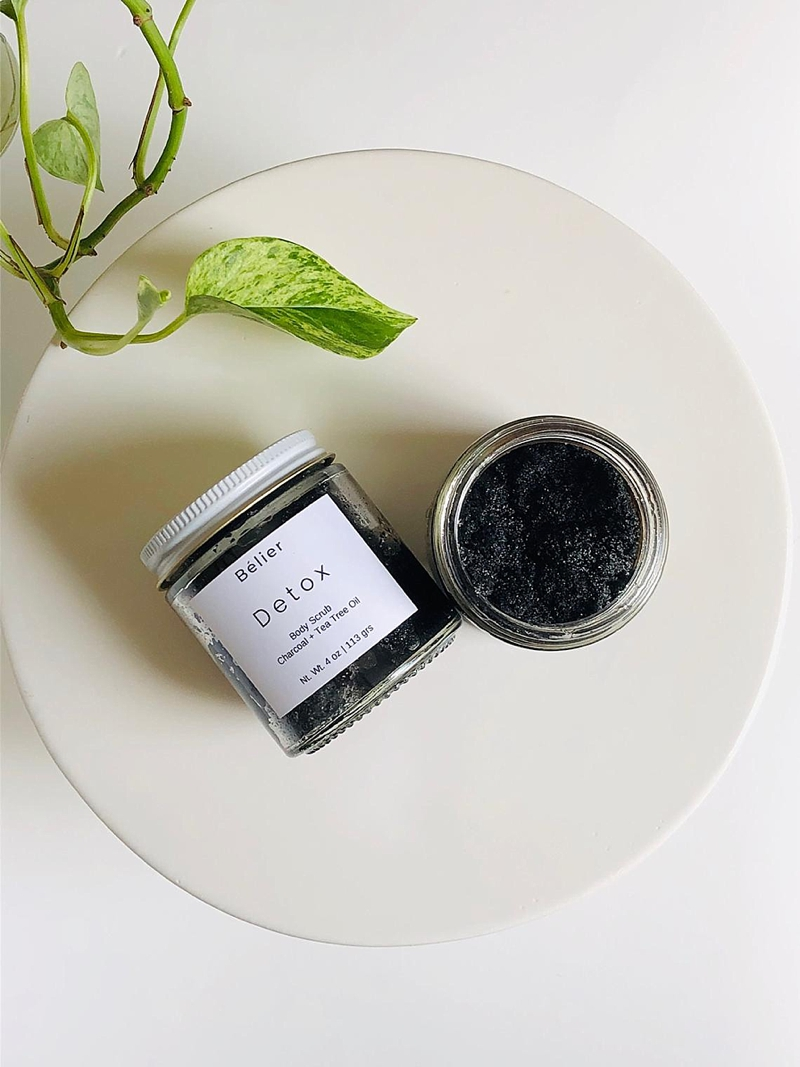 Activated charcoal and tea tree oil hand scrub for spa lover Christmas gift idea