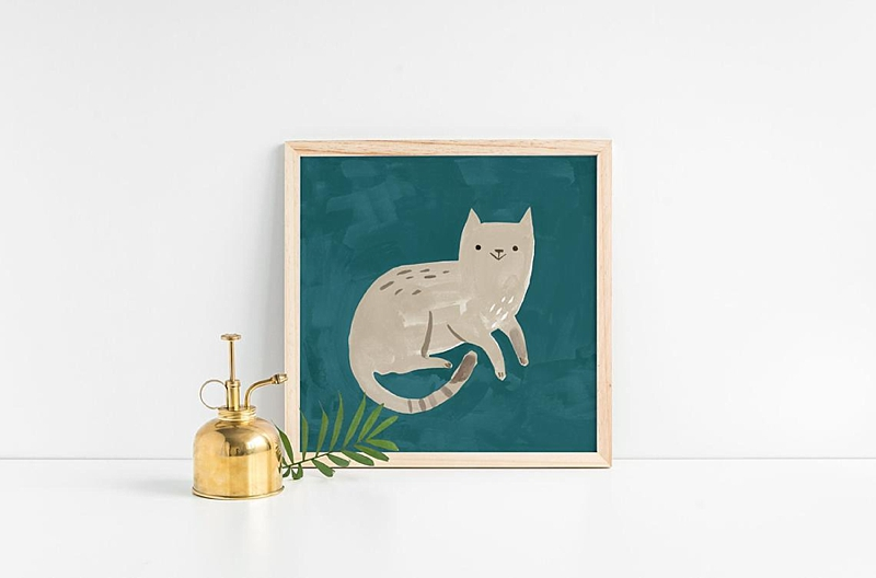 Thoughtful and encouraging happy grey cat art print on Etsy