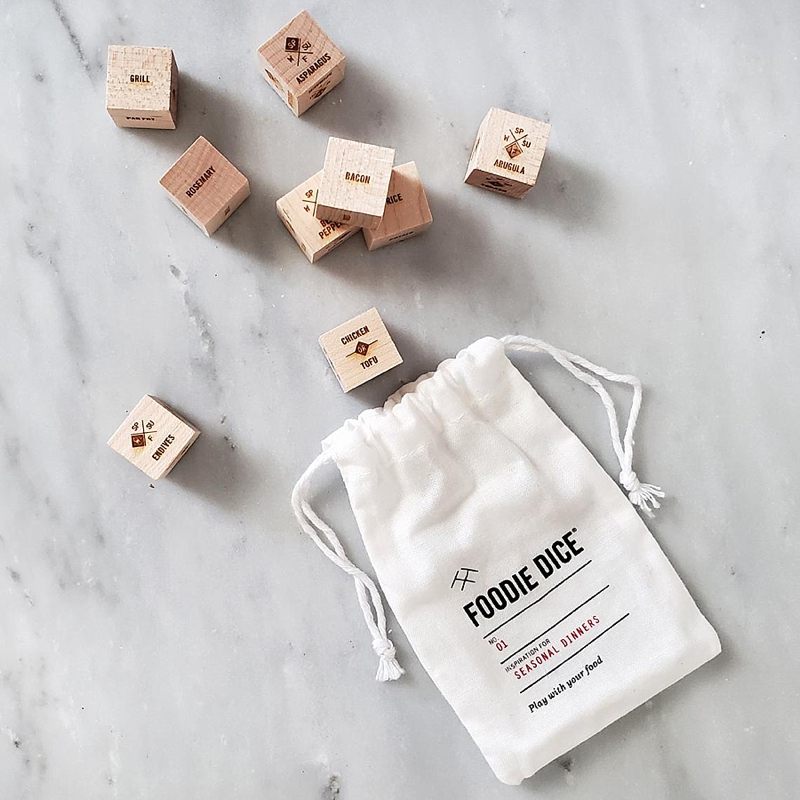 Fun food dice game set as a nice stocking stuffer idea this Christmas for the tired chef