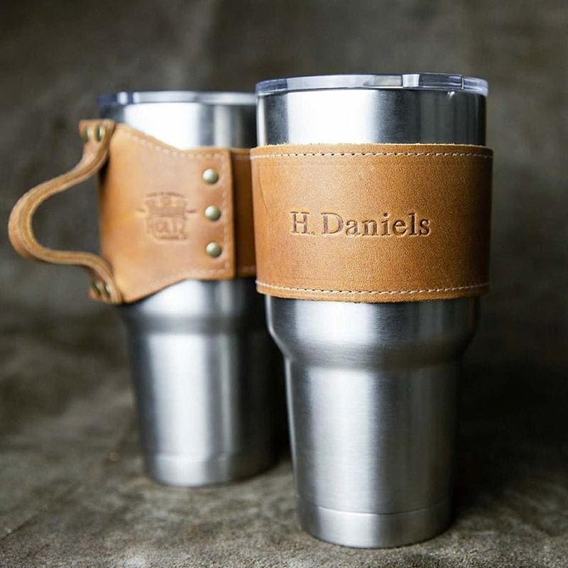 Customized leather drink tumbler wrap for Yeti cup for a wedding day gift idea for groomsmen or wedding party