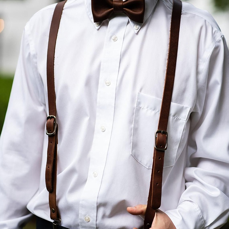 Modern leather groomsmen suspenders for thoughtful wedding day gift and attire
