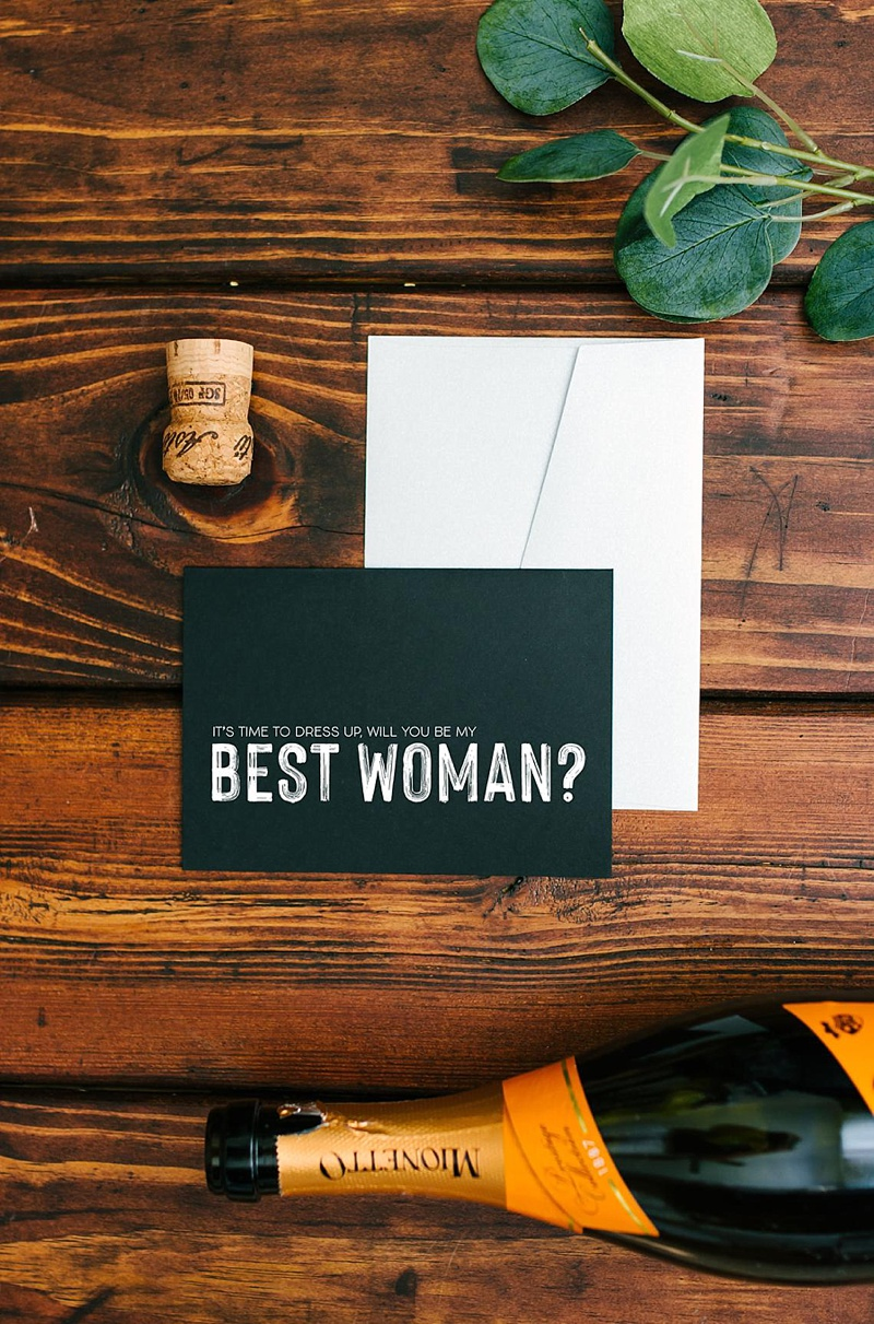 Modern black and white Will You Be My Best Woman proposal card for neat wedding party idea