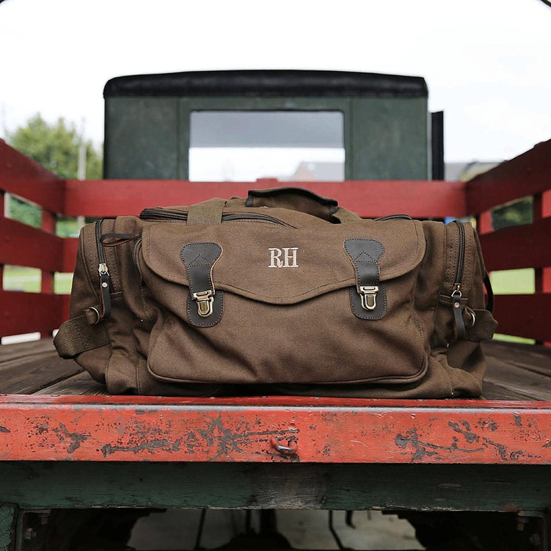 Perfect personalized wedding day canvas duffel bag for groomsmen gift