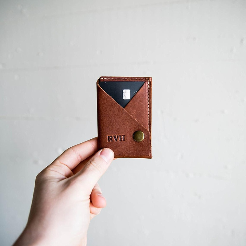 Hand stamped personalized credit card wallet for a simple groomsmen wedding gift idea