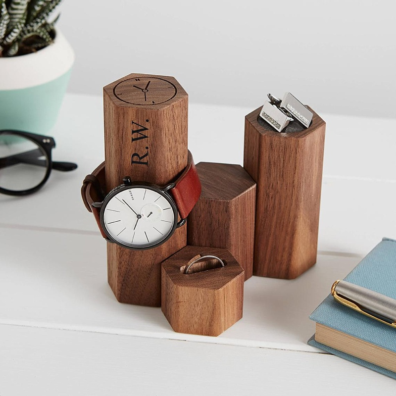 Customized geometric style jewelry or watch holder stand for a unique and thoughtful groomsmen gift