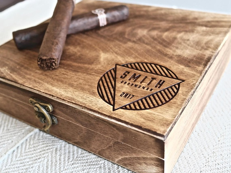 Personalized modern wooden cigar box as a thoughtful gift for your groomsman or groomswoman