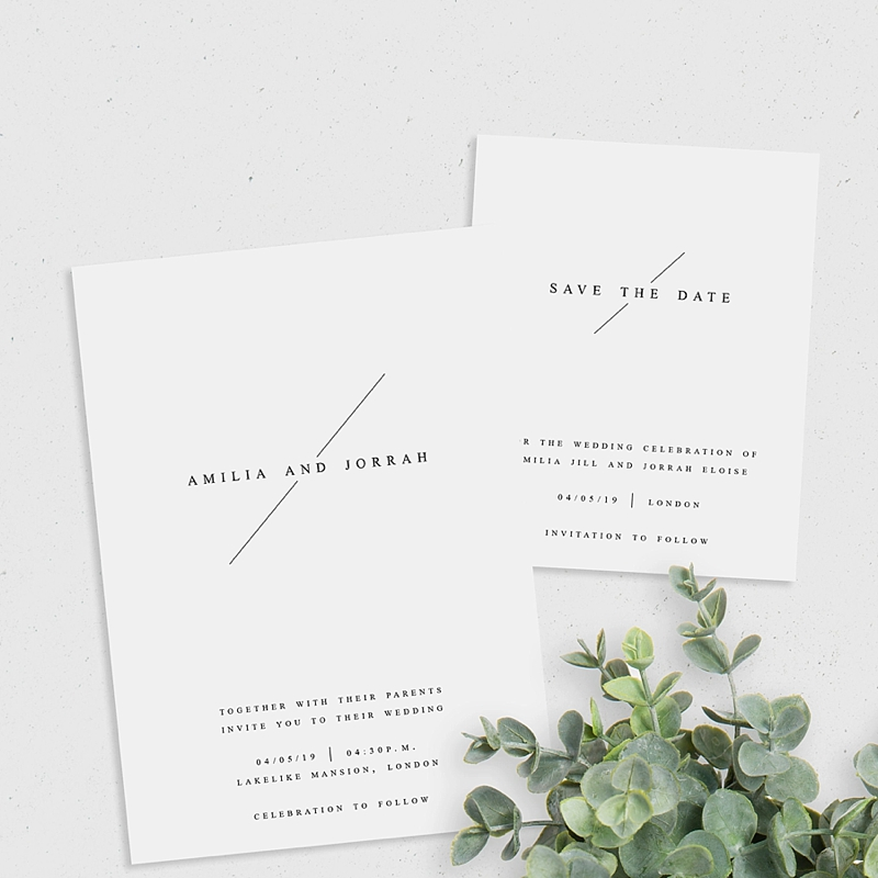 Minimalist design for modern wedding invitation