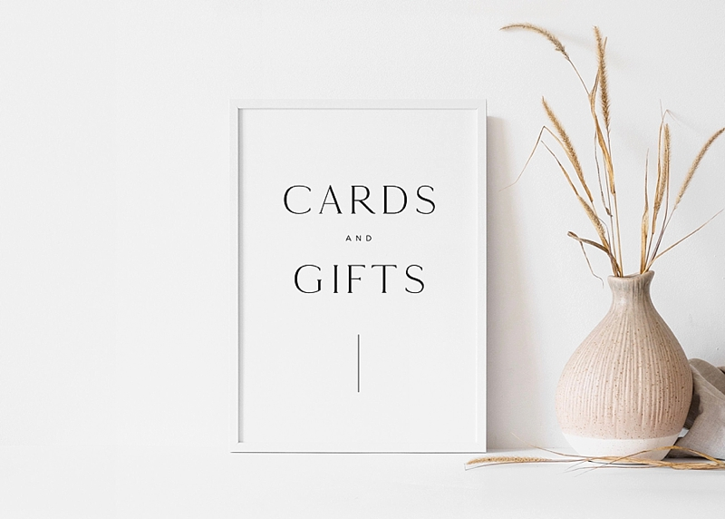 Modern minimalist Cards and Gifts wedding sign printable from Etsy