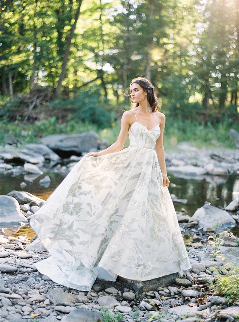 Classic modern jacquard bridal gown with spaghetti straps and metallic silver details