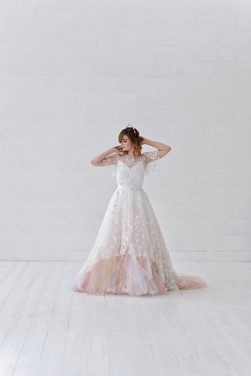 Whimsical celestial inspired wedding overskirt with stars and silver glitter for unique alternative bride