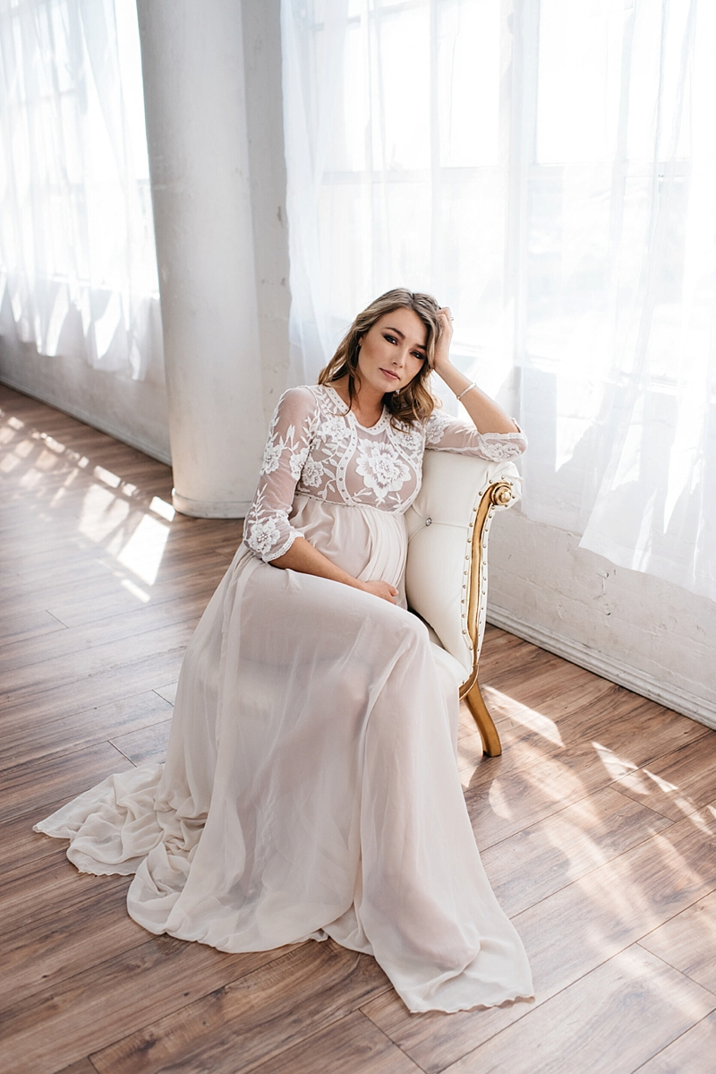 Beautifully embroidered long maternity wedding dress with three quarter sleeves and stretchy chiffon fabric