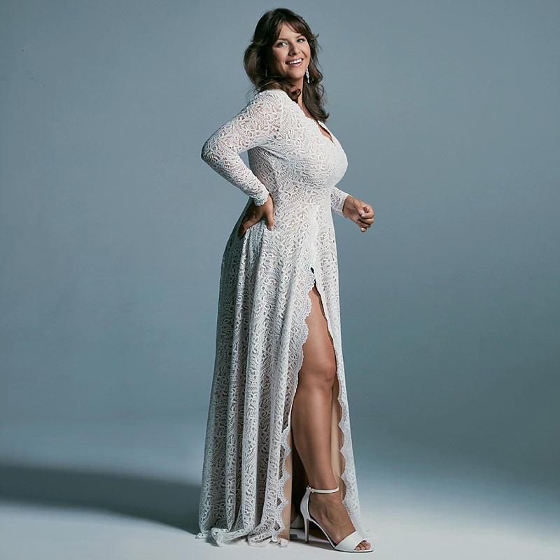 Long fitted lace plus size bridal gown with high leg slit for sexy wedding style