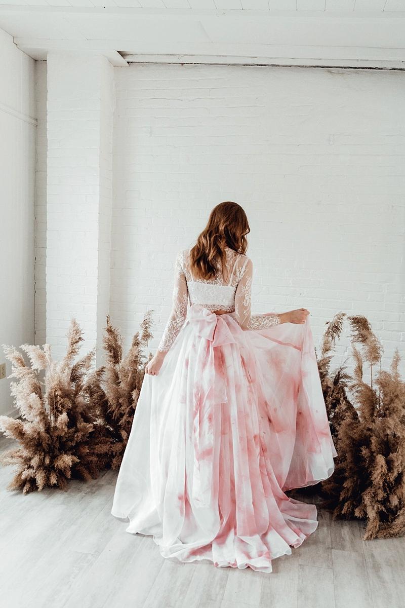 Hand painted pink or blue chiffon wedding skirt with giant back bow for unique alt bride