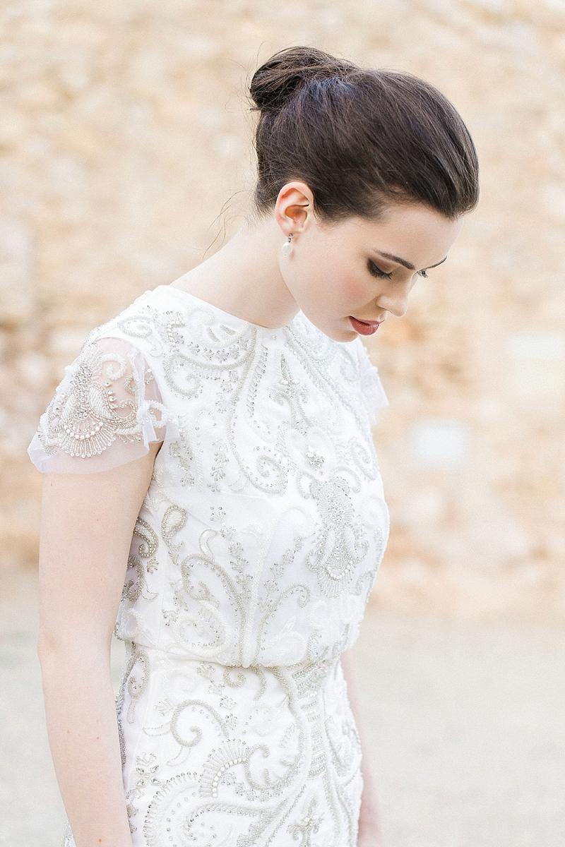 Luxury knee length beaded white wedding elopement dress with cap sleeves