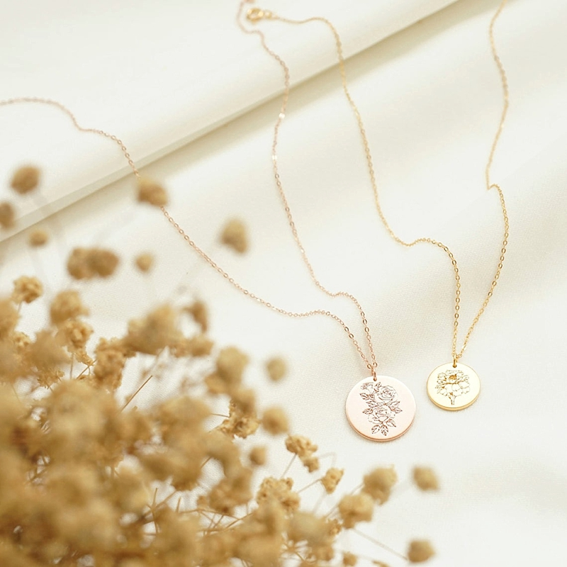 Sweet engraved birth flower pendant necklace for Mother of the Bride or Groom for a wedding day gift idea