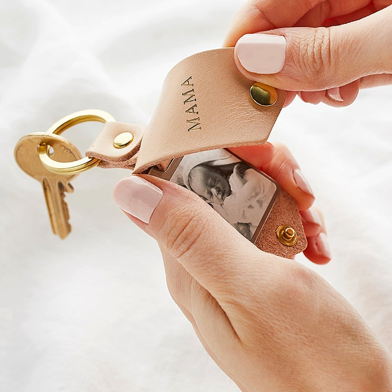 Modern unique personalized leather photo keychain Mother of the Bride or Groom for a sweet wedding day gift