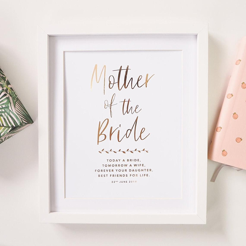 Personalized foil gold wall art print for Mother of the Bride for perfect wedding day gift