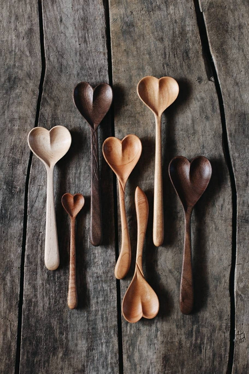 Hand carved heart shaped spoons to give to the mother who loves to cook or bake