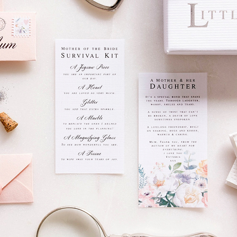 Stylishly cute mother of the bride survival kit with poem as a thoughtful gift for Mom