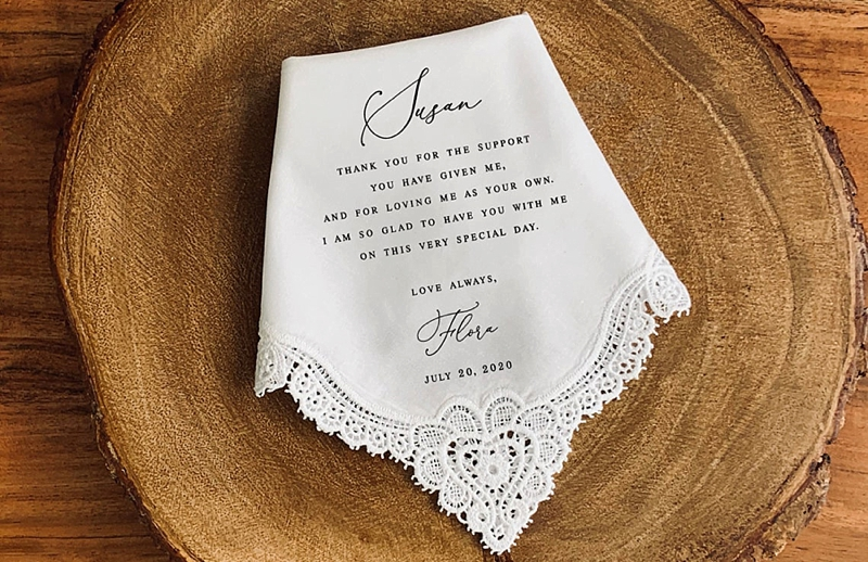 Perfect personalized wedding day handkerchief with trimmed lace to give to Mom on the wedding day