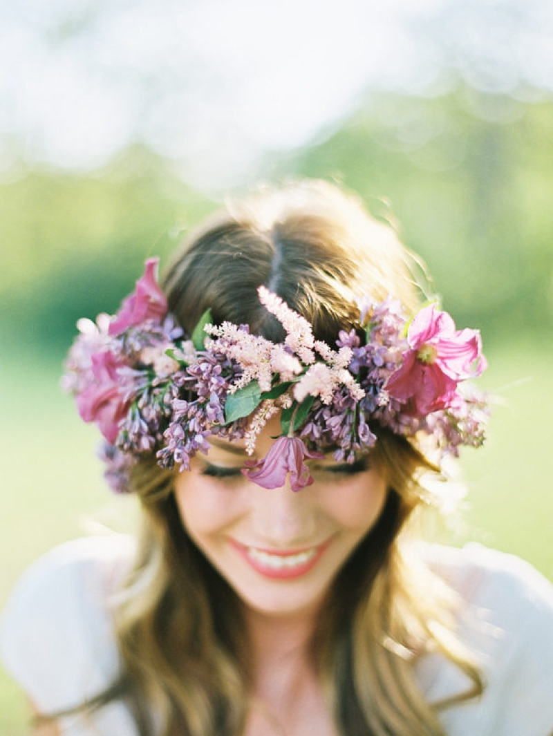 Textured purple wedding flower crown with wildflowers