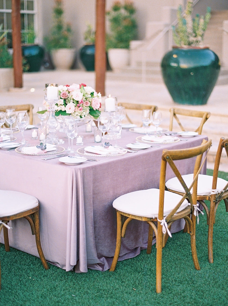 Lavender purple velvet tablecloth for classic garden wedding