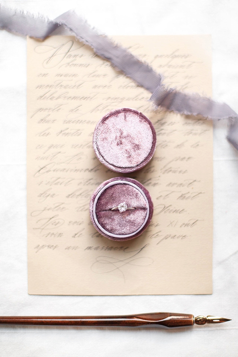 Mauve purple velvet wedding ring box